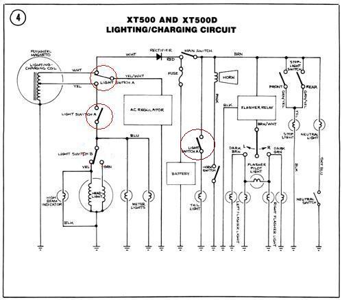 Xt500 20electrical on wiring diagram power light then switch