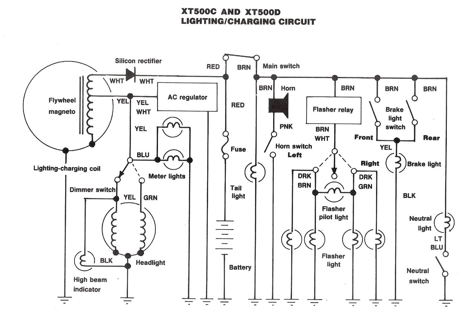 Xt500 Electrical2 Lights As Well Flasher Relay Wiring Diagram Together With Street Light Here Is The Lighting And Charging System For Later Xt500s A 2 Position Ignition Switch No Provision To Headlight Off